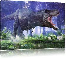 T-Rex Dinosaurier im Wald Kunst Buntstift Effekt Leinwandbild Wanddeko Kunstdruc
