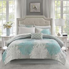 Elegant Grey Aqua Floral Geometric 9 pcs Cal King Queen Comforter Cotton Sheet