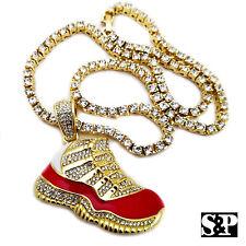 "Men's 14K Gold Plated Hip Hop Red Retro 11 Shoe Pendant & 1 Row 18"" Tennis Chain"