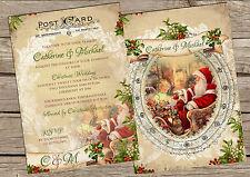 Cartolina di Natale Vintage Personalizzato inviti di nozze confezioni da 10