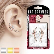 ear-crawler ottone rodiato in argento, oro rosa, oro con zirconia e perla