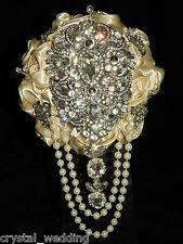 Satin rose & brooch bouquet ' REGENCY VINTAGE '  bridal collection  all colours