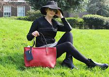 Genuine Leather Handbag Shoulder Bag Two handles Purse FEW COLORS black red gray