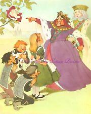 Vintage Alice In Wonderland Green Dress Queen of Hearts 5x7 or 8x10 Fabric Block