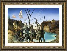 FRAMED Poster Swans Reflecting Elephants Salvador Dali Framed Art Framed Canvas