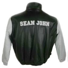 Sean John, Men Leather Bomber Jacket Q47142W BLACK/WHITE