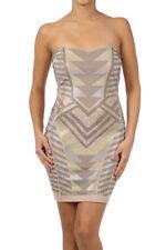 Vavavoom Gold Silver Rhinestone Bodycon Cocktail Club Party Dress