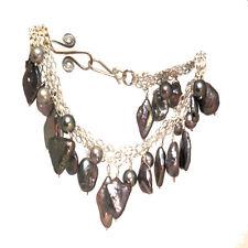 Boracay 48 ~Peacock, Pewter Pearl Multi-Chain Bracelet, Metal Choice