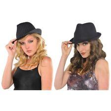 Gangster Costume Hat Adult Womens Mobster Fedora Halloween Fancy Dress