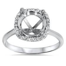 Cushion Halo Diamond Engagement Ring Setting 14K White Gold