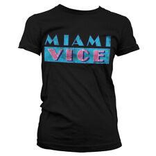 Licenza Ufficiale Miami Vice Distressed Logo T-Shirt Donna S-XXL Taglie