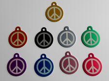 """Médaille chien """"Peace and love"""" gravée  - 10 couleurs"""