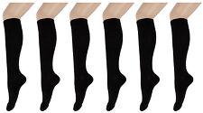 3 Bis 12 Pair Women's Knee Socks, Black, Cotton