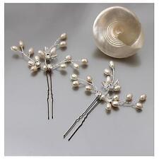 Fresh Water Pearl & Swarovski Crystal Hair Pins x2 Gold or Silver Finish Bridal