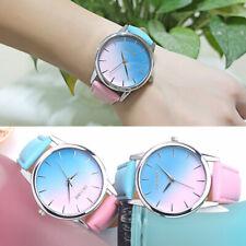 Women Girls Retro Rainbow Design Leather Band Analog Alloy Quartz Wrist Watch CA