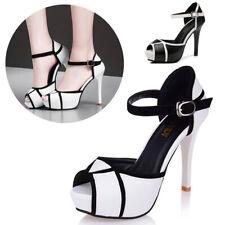 Cute Women Peep Toe Ankle Strap High Heel Sandal Leather Platform Stiletto Shoes