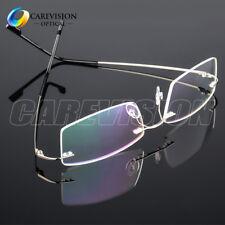 Flexible Memory Titanium-Alloy Unisex Rimless Eyeglasses Frames Optical RX Able