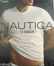 3 GENUINE NAUTICA SIZE XXL 2XL MENS COTTON WHITE V-NECK T SHIRTS UNDERSHIRTS