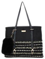 ba06fa6c6537 Ladies Faux Leather Shoulder Bag Bottom Fabric Pattern Handles Handbag  Office