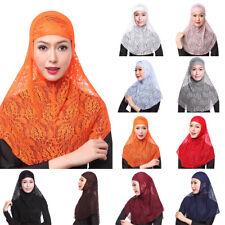 Women Ladies Lace Sheer Hijab Muslim Islamic Shawl Headscarf Cover Scarves Caps