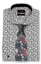 Dress Shirt Only Steven Land Trim&Classic Fit French Cuff-Black/White-TA1712-BK