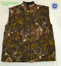 ZooFleece Vest Camo Deer Buck Camouflage Reversible Hunting Warm Brown Hunt