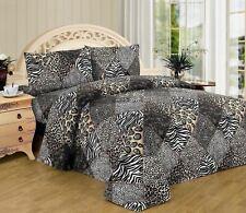 Twin Full Queen King Bed Black Tan Jungle Safari Patchwork Animal 4 pc Sheet Set