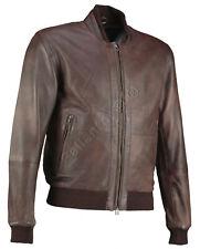 Perforated Brown Bomber Vintage Biker Leather Jacket - Motorcycle Armoured