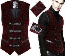 Gilet veste gothique dandy baroque velours jacquard galons PunkRave homme Rouge