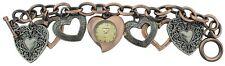 NEW GENEVA COPPER & GUN METAL,GRAY TONE CHARM BRACELET HEART LADY'S WATCH