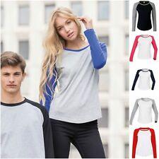 Womens Ladies Long Sleeve Raglan Baseball Casual T Shirt Tee Jersey Top 8 – 16