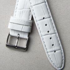 Cuero Blanco Reloj Correa Calidad Acolchado Cocodrilo Cuero De 18 mm 20 mm de cocodrilo de grano