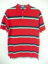 Polo Ralph Lauren Shirt Red Navy Blue Green Striped Mesh Textured Knit SMALL