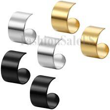 Unisex Wide Stainless Steel Ear Cuff Ear Clip Non-Piercing Clip On Earrings