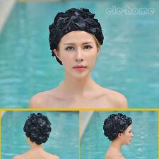 Women Lady Swimming Swim Cap Lace Floral Vintage Bathing Hat Long Hair Adult EHM