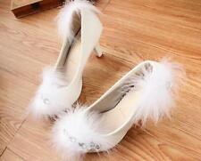 Scarpe decolte eleganti donna sposa bianco piumini spillo plateau 8 cm 9348