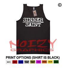 Sinner Saint Christian TANK TOP Jesus Religious Black Shirt Rock Metal Blessed