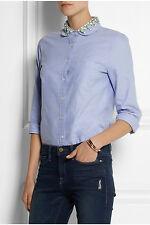 NWT £110 Designer J.CREW Crystal Embellished Collar SHIRT French Sky UK 12 - 20