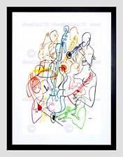 La pittura musica musicista di colore nero VIOLONCELLO TAMBURO Stampa artistica incorniciato b12x12214