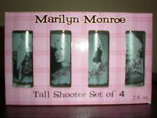 MARILYN MONROE TALL PINK TINTED SHOT GLASS NIB SET OF 4