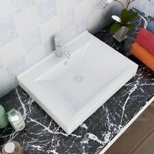 vidaXL Ceramic Basin Rectangular White with Faucet Hole 60x46cm Bathroom Sink