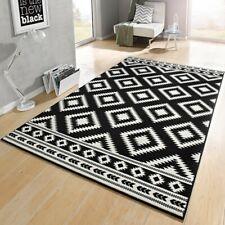 Design Velours Tapis ethnique noir crème 102412