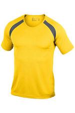 Hanes Plain YELLOW Contrast Polyester Short Sleeve Crew Neck Sports Tee T-Shirt
