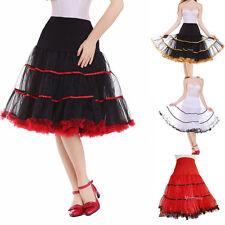 """18 Colors Women's Short Petticoat 50s Vintage Rockabilly 26"""" Long Net Underskirt"""