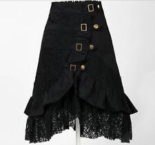 Women Steampunk Rock Gothic Victorian Black Lace Skirt Gypsy Hipp Club Wear