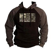 Men's Digital Camo US Flag Black/Charcoal Raglan Hoodie USA Army America Sweater