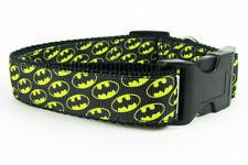"Batman dog collar handmade 12.00 all sizes adjustable buckle collar 1""wide leash"