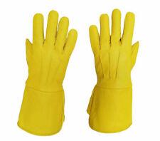 Leather Gloves Long Arm Cuff (Yellow) Men's Medieval Renaissance Gauntlet