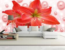 3D Rosa perlen und blumen 230 Fototapeten Wandbild Fototapete BildTapete Familie