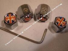 Reino Unido Bandera cuatro Red White & Blue De Bloqueo válvula neumático Neumático Polvo Tapas GRATIS UK FRANQUEO